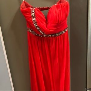 Beautiful coral colored prom dress